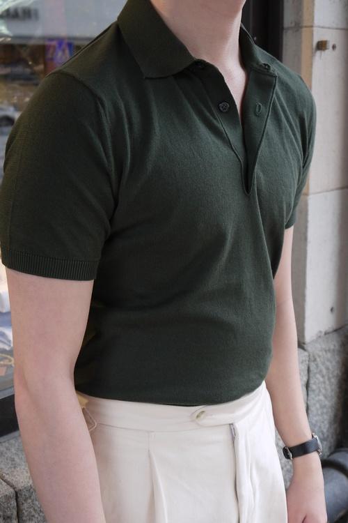 Pima Cotton Short Sleeve Polo - Olive Green