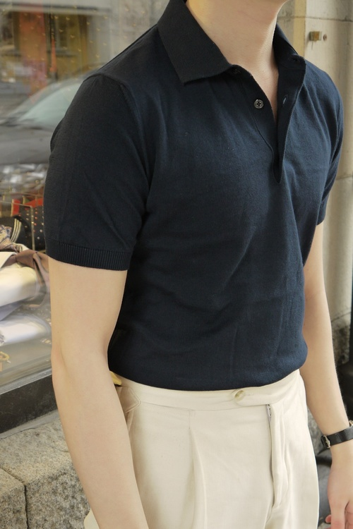 Pima Cotton Short Sleeve Polo - Navy Blue