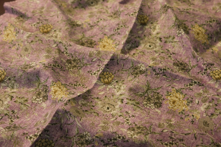Floral Linen Pocket Square - Purple