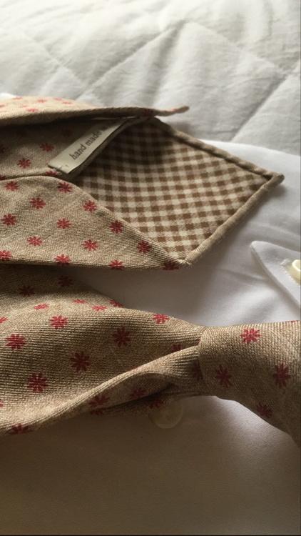 Floral Printed Silk Tie - Untipped - Beige/Red