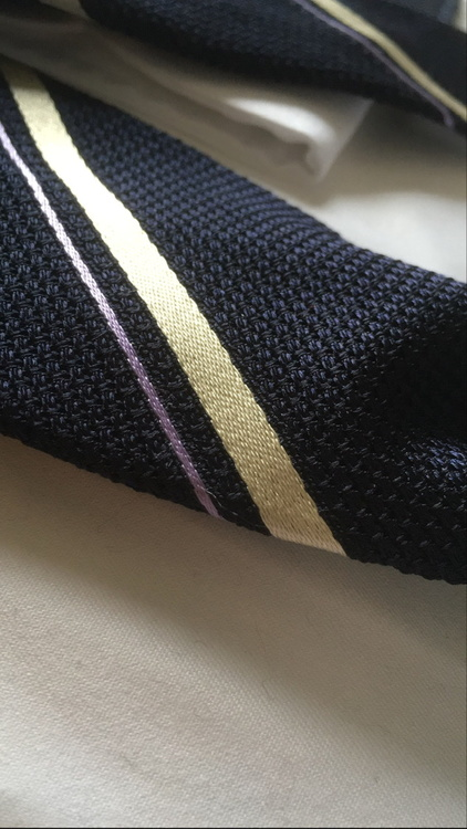 Regimental Silk Grenadine Tie - Untipped - Navy Blue/Purple