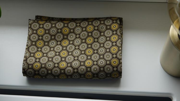 Medallion Silk Scarf - Brown/Yellow