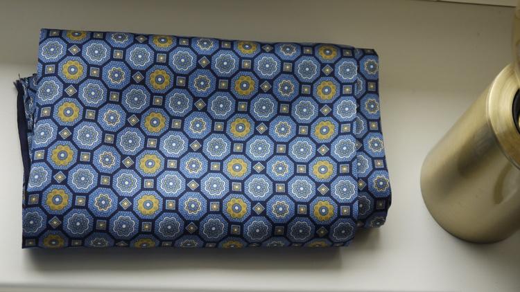 Medallion Silk Scarf - Navy Blue/Yellow