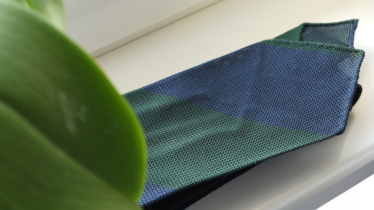 Blockstripe Silk Grenadine Tie - Untipped - Green/Navy Blue