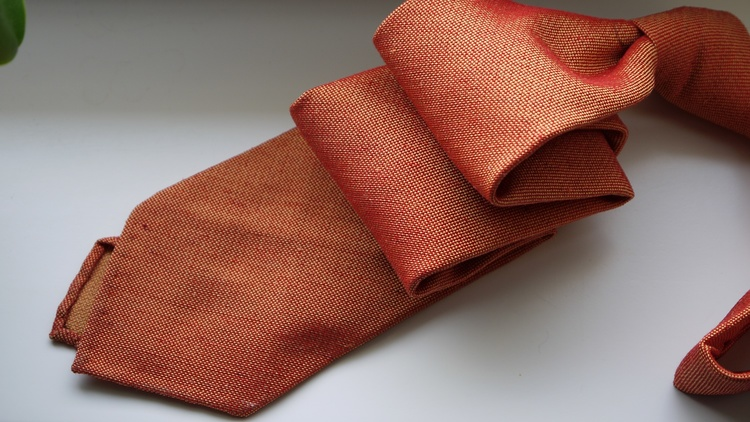 Solid Silk/Wool Donegal Tie - Untipped - Orange