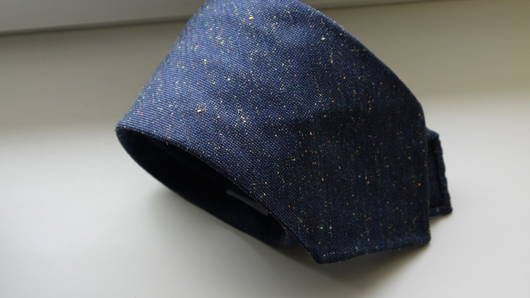 Solid Silk/Wool Donegal Tie - Untipped - Navy Blue