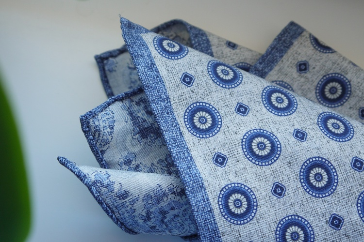 Medallion/Paisley Silk Pocket Square - Double - Beige/Navy Blue