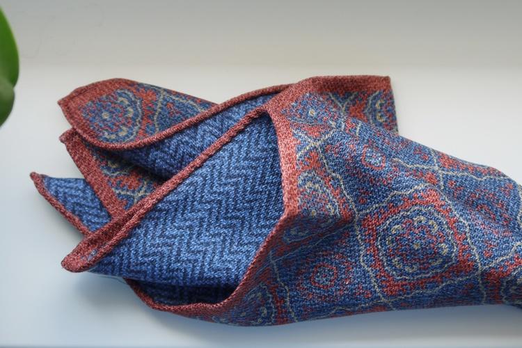 Medallion/Zigzag Silk Pocket Square - Double - Orange/Light Blue