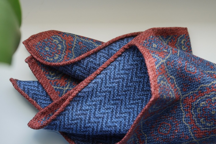 Medallion/Zigzag Silk Pocket Square - Double - Orange/Light Blue
