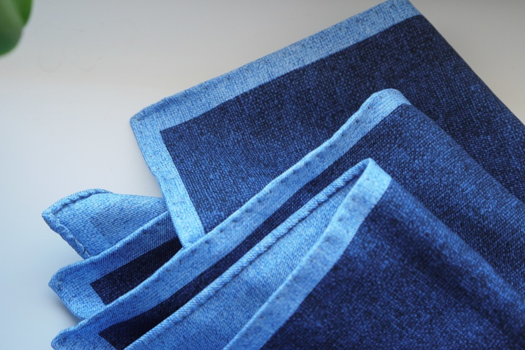 Candy Stripe/Solid Silk Pocket Square - Double - Navy Blue/Light Blue
