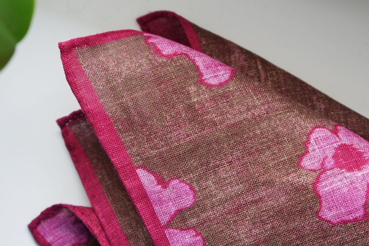 Floral Linen Pocket Square - Brown/Pink