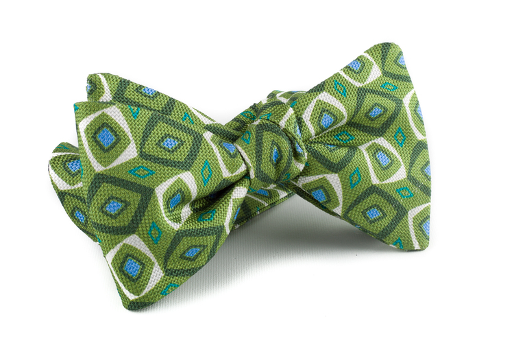 Medallion Silk Bow Tie - Green/Beige