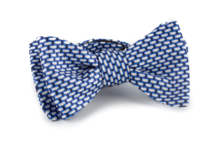 Micro Silk Bow Tie - Navy Blue/White