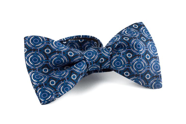 Circular Silk Bow Tie - Navy Blue/White