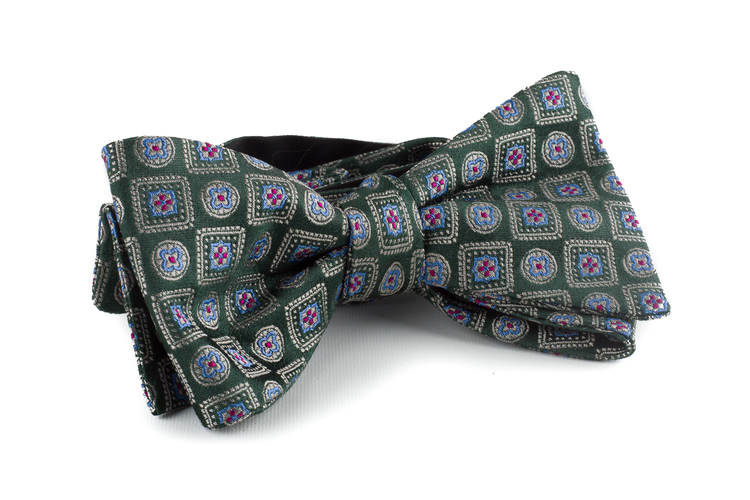 Medallion Silk Bow Tie - Green/Light Blue