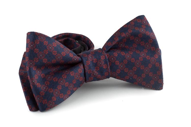 Floral Silk Bow Tie - Navy Blue/Burgundy