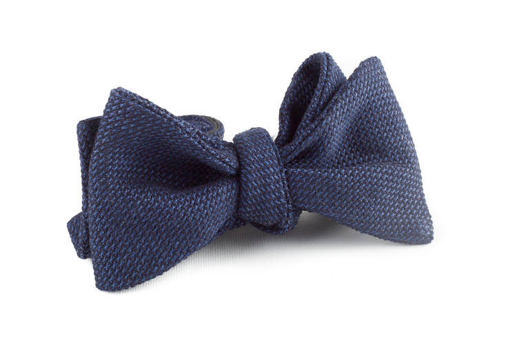 Solid Grenadine Bow Tie - Mid Navy Blue
