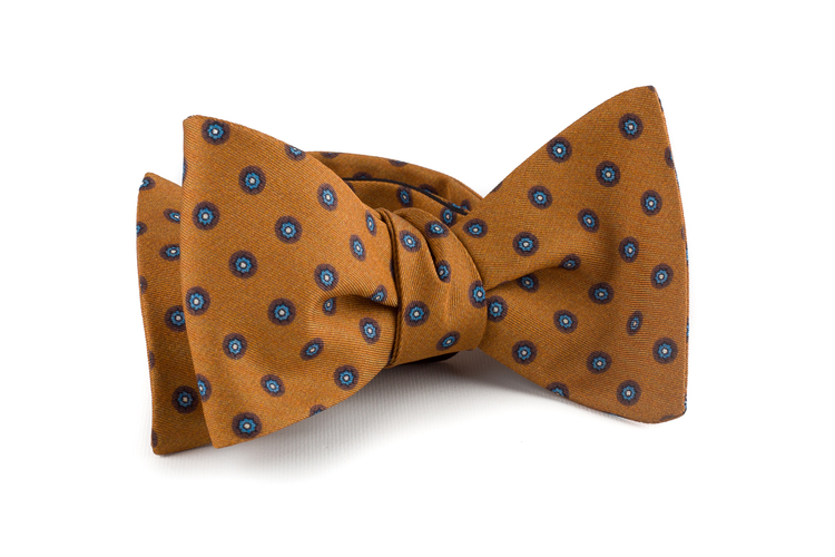 Floral Cotton/Silk Bow Tie - Orange/Light Blue