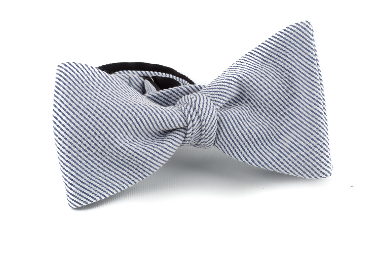 Striped Seersucker Cotton Bow Tie - Blue/White