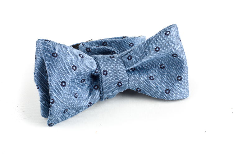 Polka Dot Shantung Bow Tie - Light Blue/Navy Blue