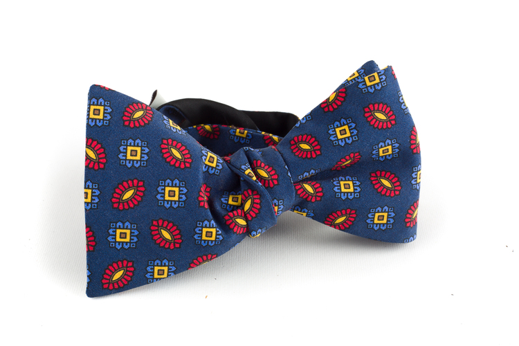 Floral Madder Silk Bow Tie - Navy Blue/Orange/Yellow