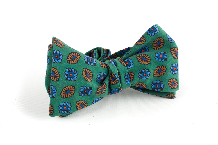 Floral Madder Silk Bow Tie - Green/Brown/Blue