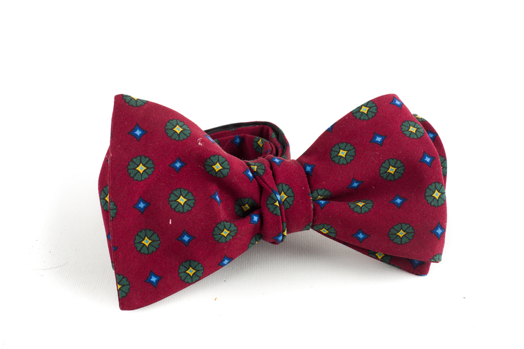 Floral Madder Silk Bow Tie - Burgundy/Green/Yellow
