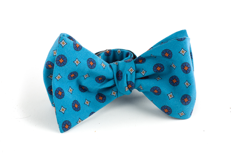 Floral Madder Silk Bow Tie - Turquoise/Navy Blue/Orange