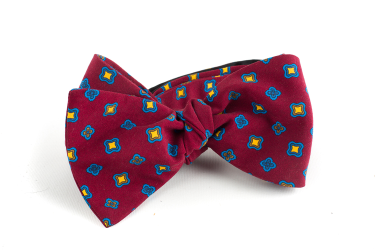 Square Madder Silk Bow Tie - Burgundy/Blue/Yellow