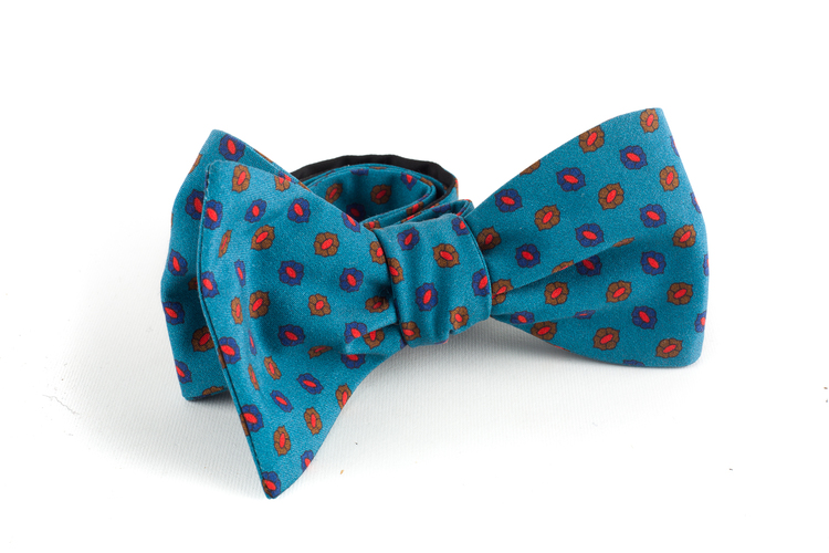 Floral Madder Silk Bow Tie - Turquoise/Brown/Navy Blue