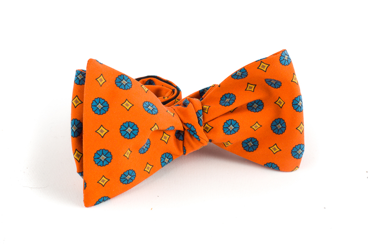Floral Madder Silk Bow Tie - Orange/Light Blue