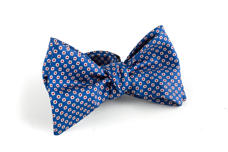 Floral Silk Bow Tie - Light Blue/White/Burgundy