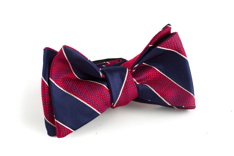 Regimental Silk Bow Tie - Navy Blue/Burgundy