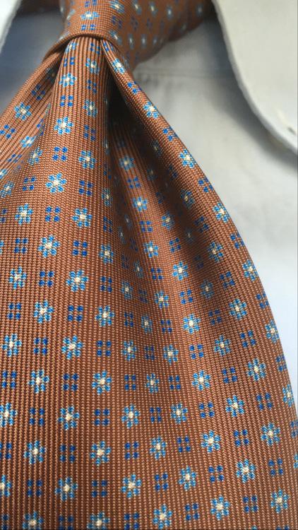 Floral Printed Silk Tie - Untipped - Brown/Light Blue/Navy Blue