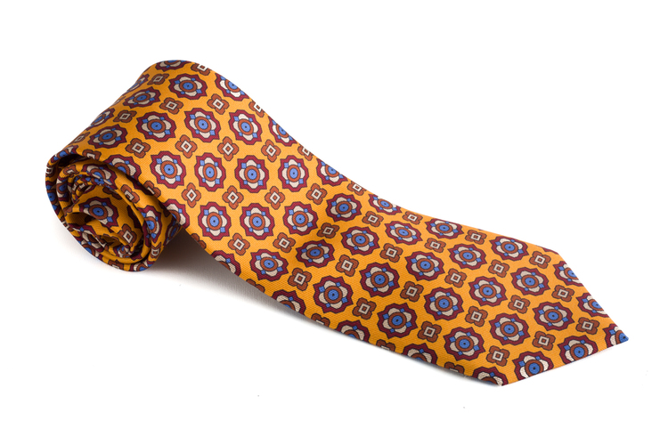 Medallion Printed Silk Tie - Yellow/Burgundy