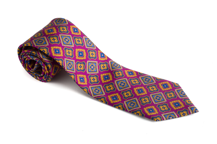 Medallion Printed Silk Tie - Cerise/Navy Blue