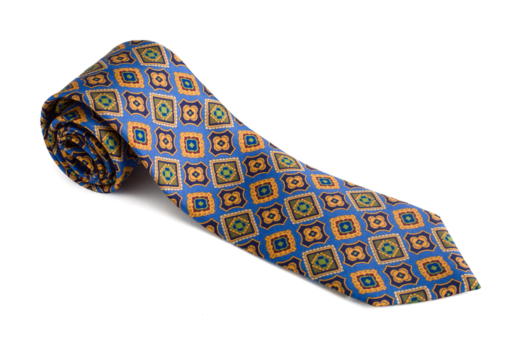 Medallion Printed Silk Tie - Light Blue/Mustard
