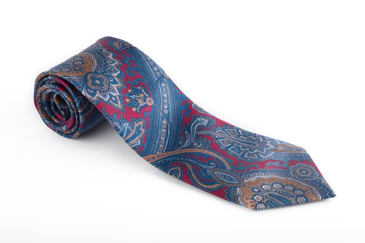 Paisley Printed Silk Tie - Burgundy/Navy Blue