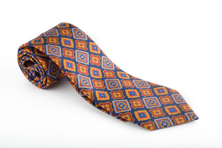 Medallion Printed Silk Tie - Navy Blue/Mustard