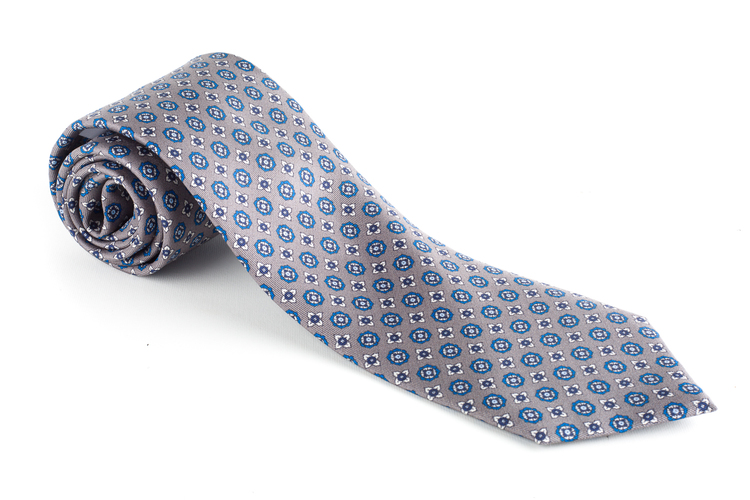 Floral Printed Silk Tie - Grey/Blue