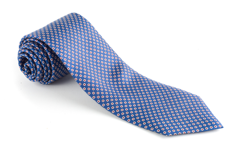 Micro Printed Silk Tie - Light Blue/White/Burgundy