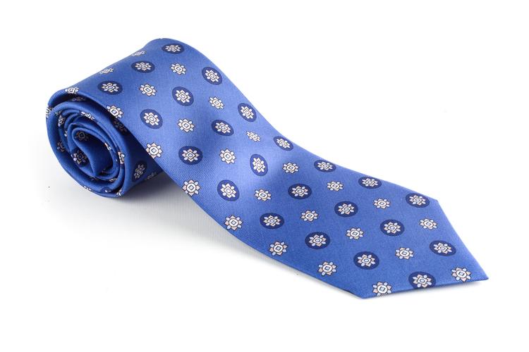 Floral Printed Silk Tie - Light Blue/Navy Blue
