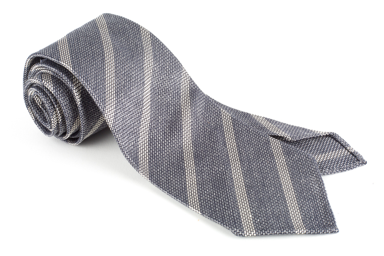 Regimental Silk Grenadine Tie - Untipped - Grey/White