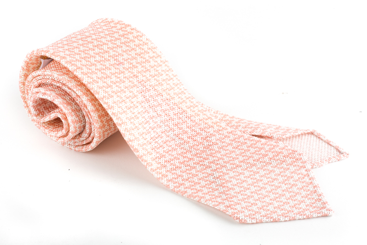 Micro Silk Grenadine Tie - Untipped - Pink/White