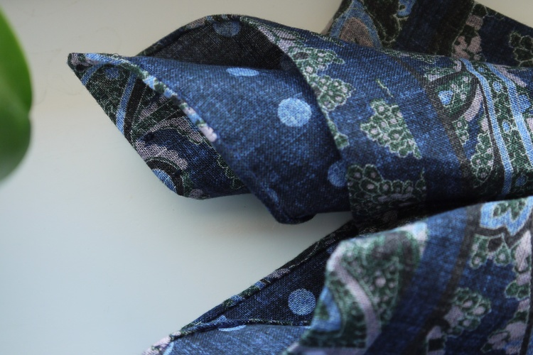 Paisley/Polka Linen Pocket Square - Double - Navy Blue/Green