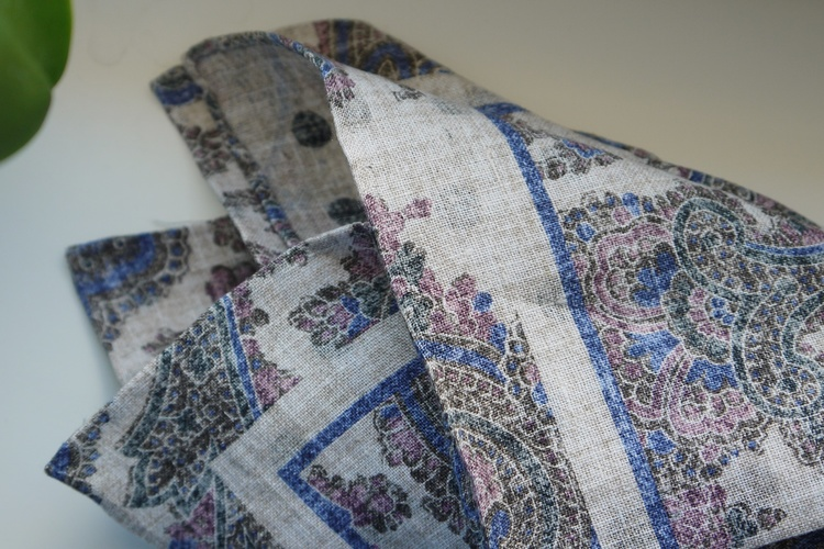 Paisley/Polka Linen Pocket Square - Double - Beige/Navy Blue