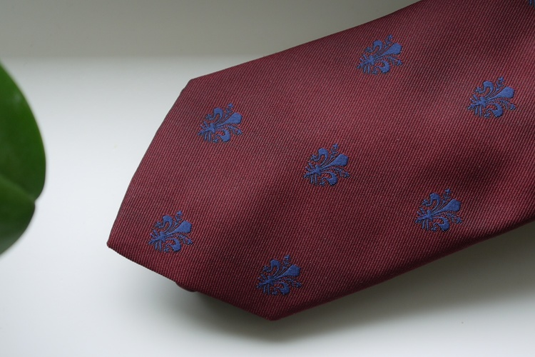 French Lily Silk Tie - Burgundy/Navy Blue