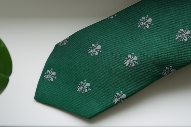 French Lily Silk Tie - Green/Grey