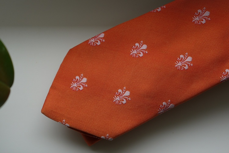 French Lily Silk Tie - Orange/White
