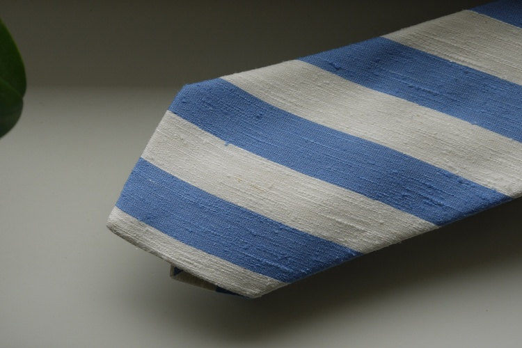 Regimental Shantung Tie - Light Blue/White